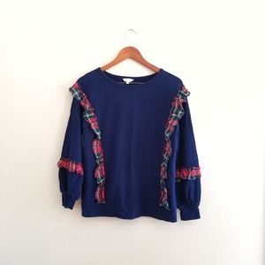 Crown & Ivy Navy Blue Plaid Ruffle Sweatshirt 417
